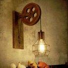 Creative retro Loft adjustable lifting pulley wall lamp
