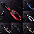 For Tesla Model S Remote Car Key Fob Case Aluminum Leather Keys Cover