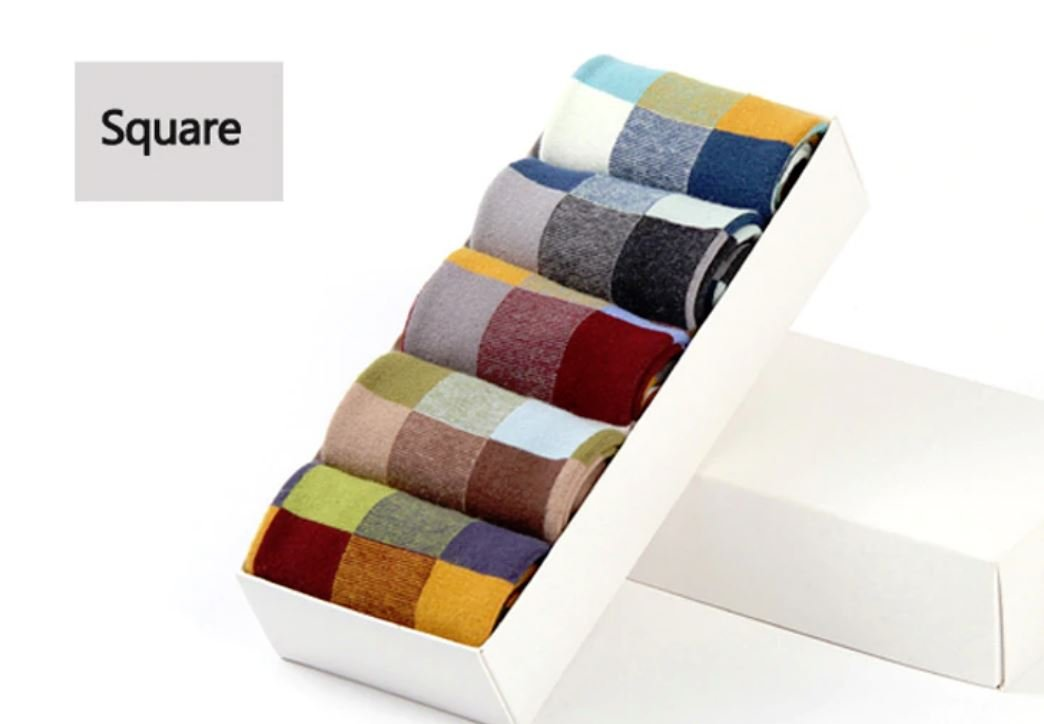 5 Pairs/Lot Combed Cotton Men's Socks Compression Socks  Square desingn