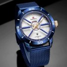 Luxury Sport Watch Mesh Steel Date Week Waterproof Quartz Watch for Men
