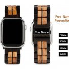 Replacement Wood Band for Apple Watch   Stainless Steel Strap Name Personalized