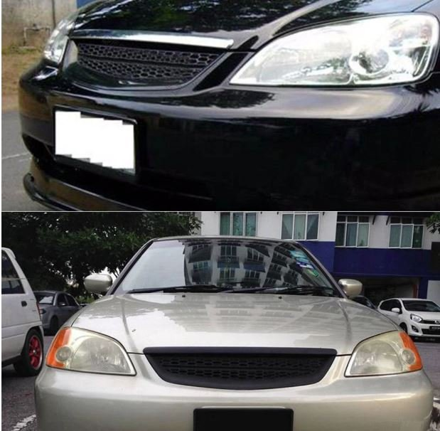 For 2001 2002 2003 Honda Civic 2DR/4DR EM/ES Black ABS Type-R Style Grille Cover