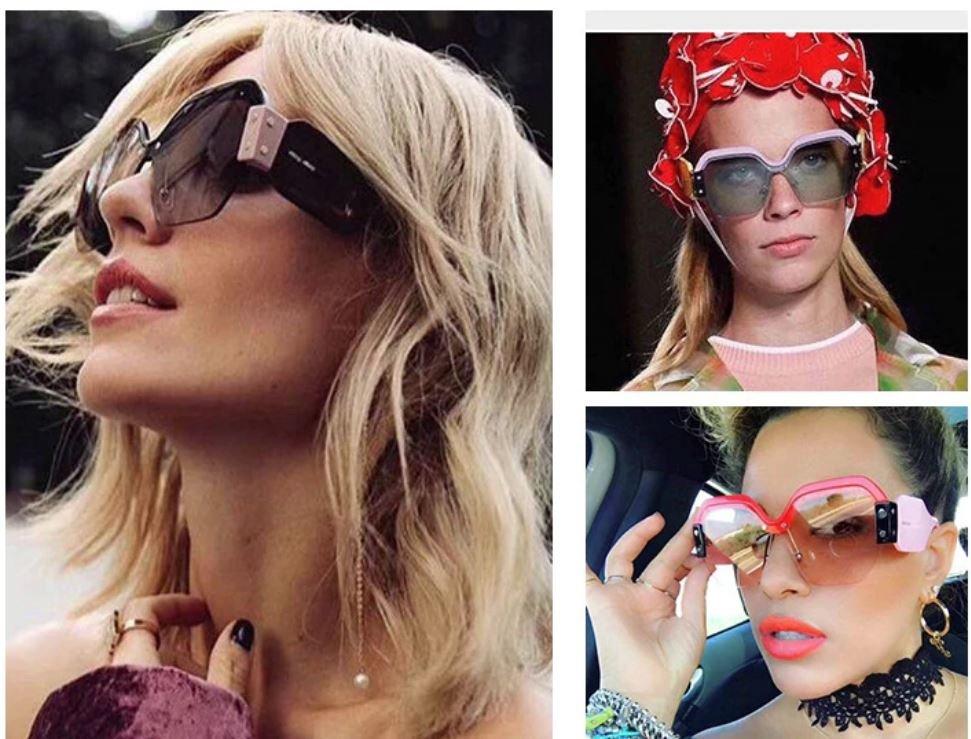 2020  Rimless Oversized Sunglasses Women Vintage Rivet Trendy