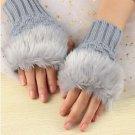 Faux Rabbit Fur Hand Wrist Crochet Knitted Fingerless Gloves Grey