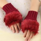 Faux Rabbit Fur Hand Wrist Crochet Knitted Fingerless Gloves RED
