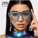 SMS Oversized Square Sunglasses Women Luxury Brand Fashion Flat Top Blue