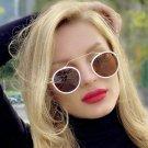 White Vintage inspired Retro Round Sunglasses 2020 Metal Frame Flat Lens