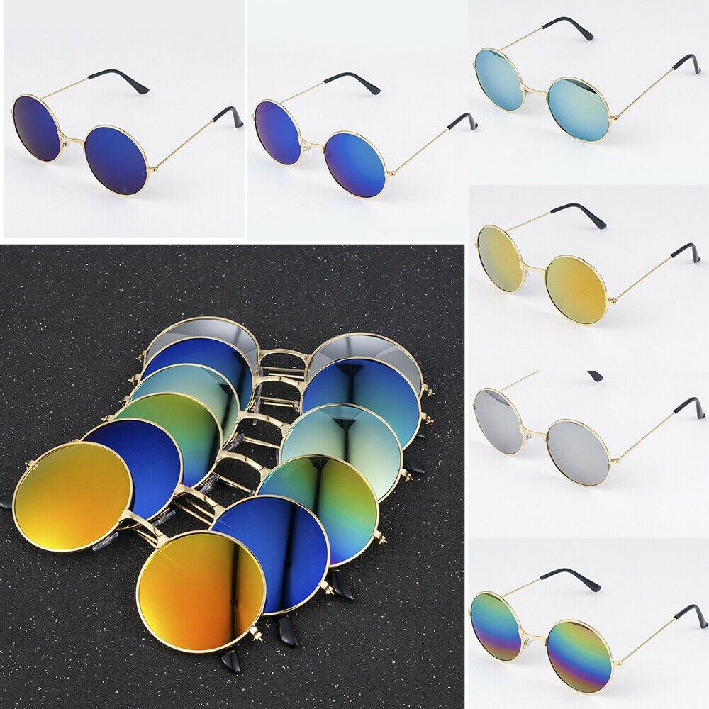 Retro Round Mirrored Frame Sunglasses Women Men Fashion Vintage Glasses Eyewear