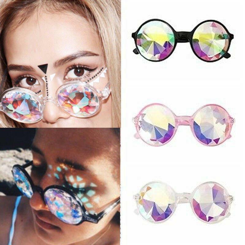 Festival Rave Kaleidoscope Round Glasses Prism Diffraction Crystal Lens