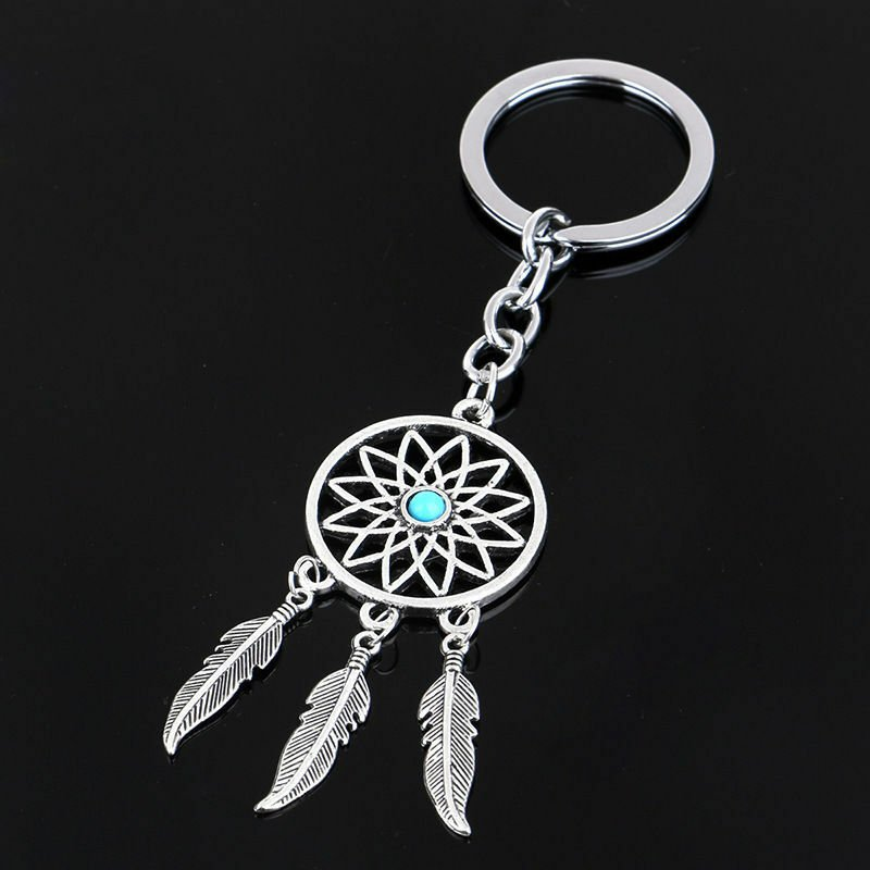 Silver Metal Key Chain Ring Feather Tassels Dream Catcher Keyring Keychain