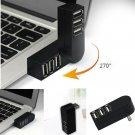 Mini 3 Port USB 3.0 Rotating Splitter Adapter Hub For PC Laptop Notebook Mac L7S