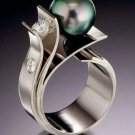 Plated S925  Silver Green Pearl Pearl Zircon Ring