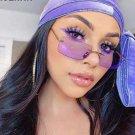 Rectangle Rimless Sunglasses  Square Purple   Brand Designer  Retro Small  Gradient Glass UV400