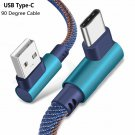 Blue Type C 90 Degree Right Angle USB C 3.1 Fast Data Sync Charger Charging Cable Hot