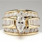18k Yellow Gold Plated Women Ring White Sapphire Wedding Ring Size 6-10 L7