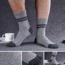 Light Grey Five Finger Toe Socks Cotton Solid color Casual Sports Crew Striped Socks