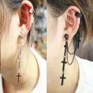 Punk Fashion Gothic Cross Long Tassel Chain Ear Cuff Stud Clip Earrings Gifts