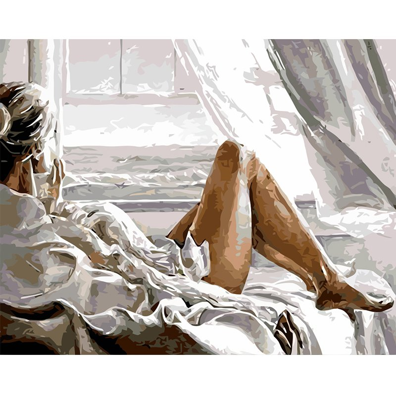 Painting By Numbers DIY  40x50  no frame Girl seaside holiday