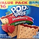 Pop Tarts Toaster Pastries Strawberry Unfrosted 16 Count Free World Shipping