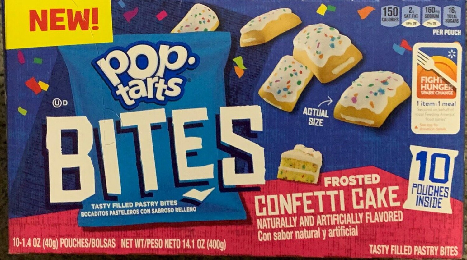 POP TARTS BITES FROSTED CONFETTI CAKE 14.1 OZ (400g) BOX 10 POUCHES INSIDE