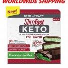 Slim Fast Keto Fat Bomb Chocolate Mint Cup 14 Ct 8.4 Oz WORLDWIDE SHIPPING