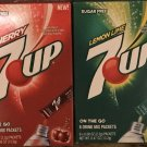 6 Boxes Variety Pack 7UP Lemon Lime / Cherry On The Go Drink Mix Packets