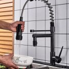 Blackend Spring Kitchen Faucet Pull out Side Sprayer Dual Spout Single Handle Mixer