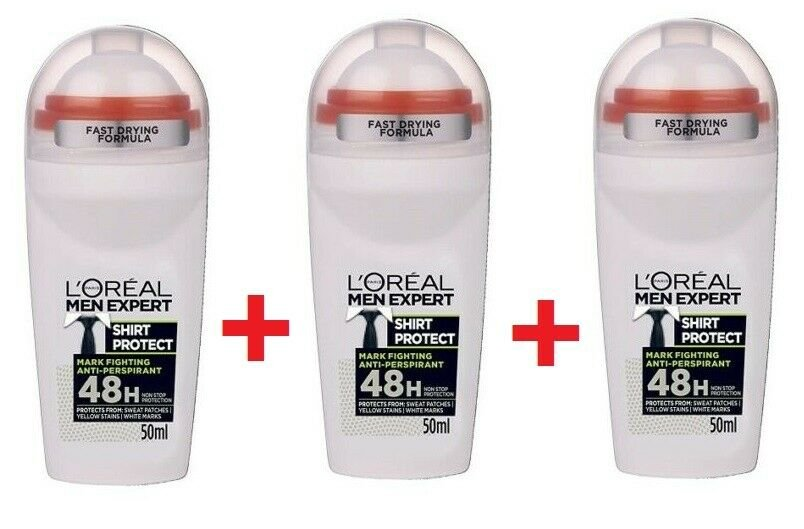 3 x L'OREAL  Men Expert SHIRT PROTECT XXL Roll On 48h Deodorant From europe