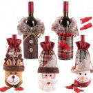 5 Holiday/Christmas Wine Bottle Covers/Bags  : Checkers & herringbone  Faux Fur Collar; Gift Sug