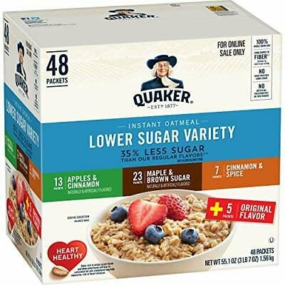 Quaker Instant Oatmeal, Lower Sugar, 4 Flavor Variety Pack, 48 packs