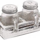 Mason Jar Salt and Pepper Wht Shakers Set with Wood Tray for Retro, Rustic Kitchen Gift Sugg