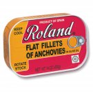 Roland Foods Flat Anchovy Fillets Packed in Olive Oil, Wild Caught from Spain, 14 OZ Can(Pack of 2)