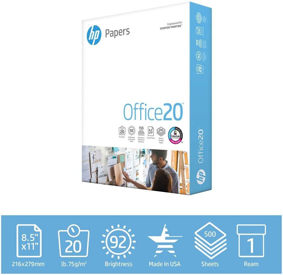 HP Printer Paper 8.5x11 Office 20 lb 1 Ream 1500 Sheets 92 Bright