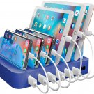 Blue Charging Station  6 USB Fast Ports +6   USB Cables  , for Cell Phones,   Tablets, and Other