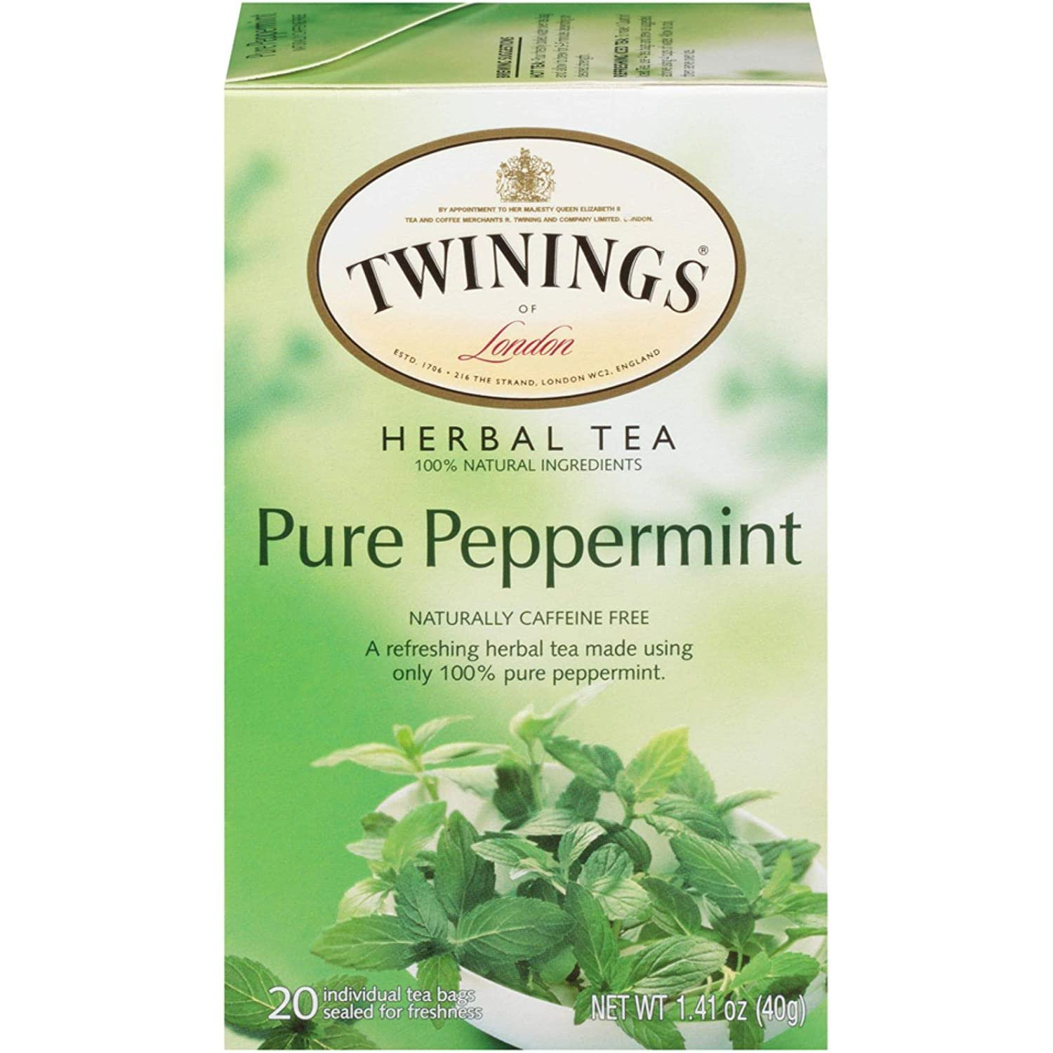 Twinings of London Pure Peppermint Herbal Tea Bags, 20 Count X2 Box Pack From UK