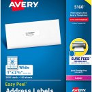 Avery 5160 Easy Peel Address Labels White, 1 x 2-5/8 Inch, 3,000 Count