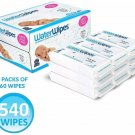 WaterWipes Unscented Baby 540 Wipes, Sensitive and Newborn Skin, 9 Packs  X 60