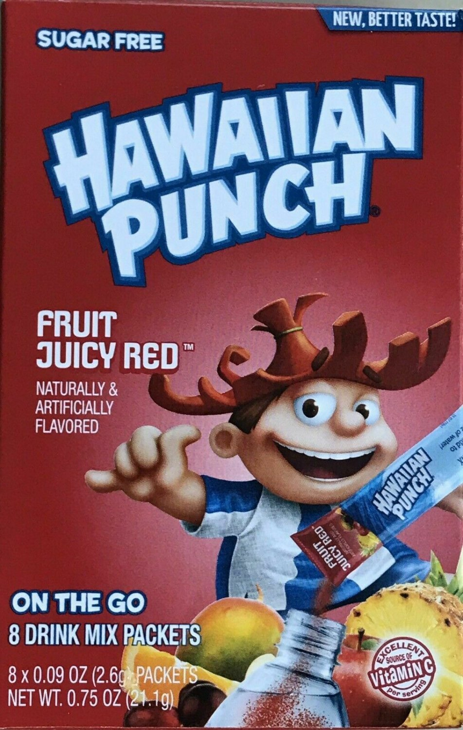 10 Boxes (80 Packets) Of Hawaiian Punch Fruit Juicy Red Singles to Go Sugar Free Drink Mix