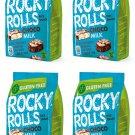 ROCKY ROLLS Puffed Rice Snacks Choco Milk Flavor Sweet Healthy Treats 4 x 70g-From europe