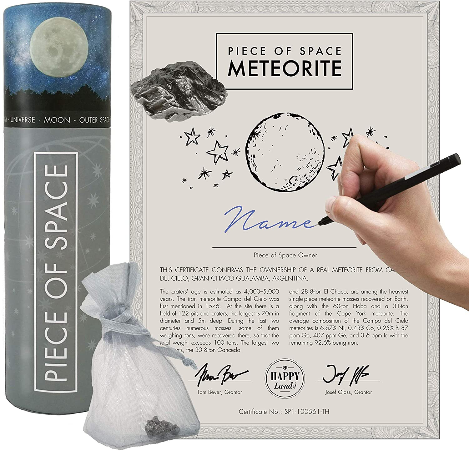 Unic Gift  -Real Iron Meteorite- Certificate of Authenticity & Bag  From Campo del Cielo, Argentina