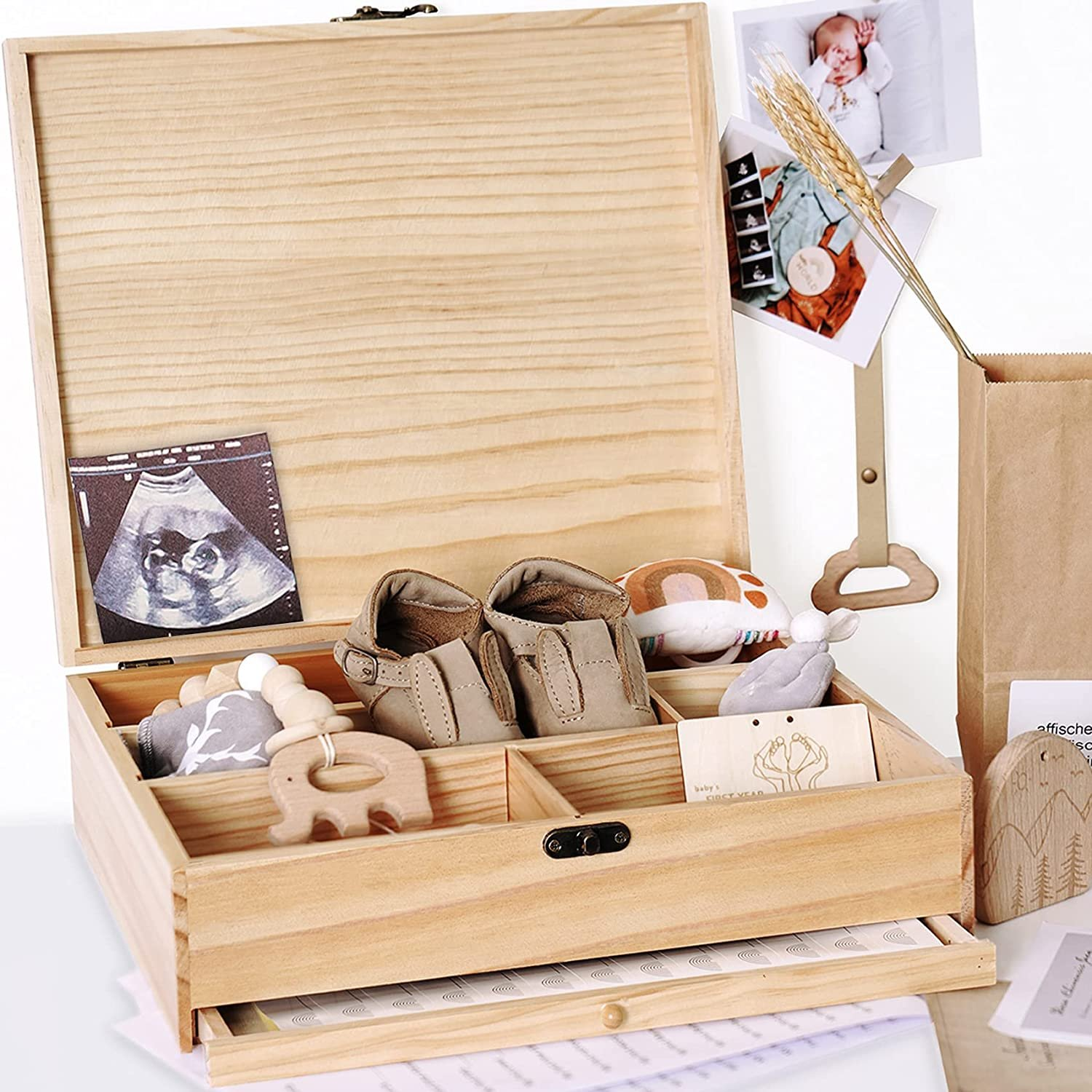 Baby's First Year Memory Library Baby Keepsake Box Wooden -Gift for New Mom- shower Birthday