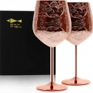 Gift suggestion  Etched Stainless Steel Wine Glasses With Copper Plated or Black ,Set of 2(17oz)