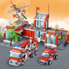 774pcs City Fire Station  Building Blocks Car Helicopter  Firefighter Man Truck Enlighten Bricks