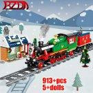 913 PCS City Train Winter Christmas Train Building Blocks Electric Train Track Bricks