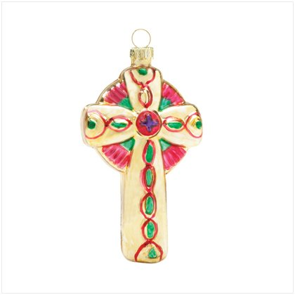Discount Christmas Shopping: Cross Glass Ornament