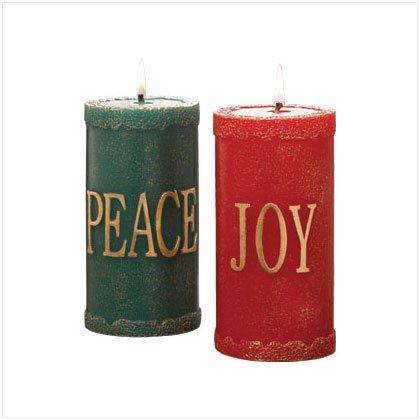 Discount Christmas Shopping: Festive Pillar Candle Set / Set of 2