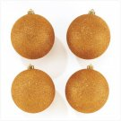 Discount Christmas Shopping: Gold Glitter Ornaments Set of 4
