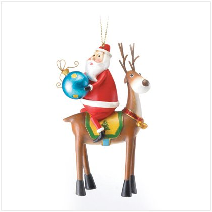 Discount Christmas Shopping: Santa on Reindeer Ornament