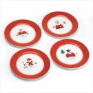 Set Of 4 Snowman Dinner Plate Perfectly Plaid