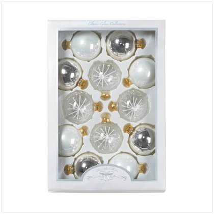 Discount Christmas Shopping: Silver and Gold Christmas Ornaments Set of 12